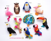 ASIAN ANIMALS felt Ornaments, Toys, Magnets, Keychains, Brooches – Price per 1 item – Panda, Tiger, Orangutan, Yak, Snow leopard, Camel