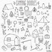 60 Camping Clip Art | Hand Drawn Vintage Trailer & Outdoor Woodland Illustration | Fishing + Camp Fire Outline Drawing | Png Eps Pdf Svg Dxf