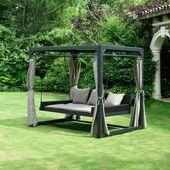 Aldi Sud Home Deluxe Pavillon Provence Mit Bett In Rattan Optik Kaufen Pavillon Hinterhof Terrassen Designs Gartenliege