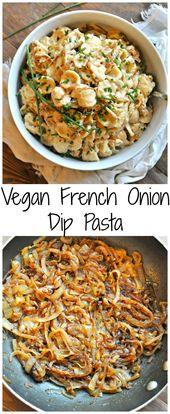 Vegane French Onion Dip Pasta – Kaninchen und Wölfe