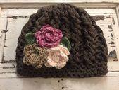 Brown Hat with Flowers- Crochet Hat -Hat for Women- Girls Hat- Flower Hat – Baby… – Bez