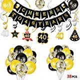 Howaf 40. Geburtstag deko Cheers zum 40. Geburtstag Banner und Deckenhänger Spi…