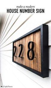 DIY modernes Hausnummer-Zeichen mit hölzernen Unterlegscheiben