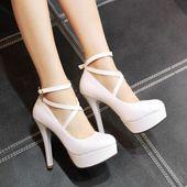 Details about Women Patent Leather Fashion Platform Ankle Strap Pumps Wedding High Heels Shoes