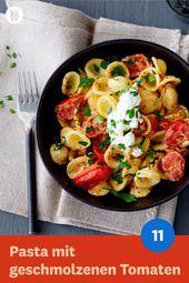 Pasta mit geschmolzenen Tomaten