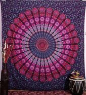 Mandala Wandbehang Pfauenfeder lila yoga Raum Deko überwurf 100% Baumwolle