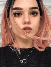 pastel-colored short hair style idea + eye makeup + color #shorthair #hairs …