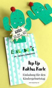 Birthday Party Invitations  Make a Pop-Up Cactus Card