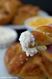 Homemade Soft Pretzels are topped with salt, baked, brushed with melted butter a…