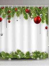 Photo of Weihnachtskugel Wasserdichter Duschvorhang Künstliche Tanne als Weihnachtsdekoration …