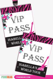 Rock Star Birthday VIP Pass – Rock Star Party VIP Pass – Printable Rock Star VIP Passes – Rockstar Birthday Party Favors (Instant Download)