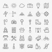 Camping Vector Line Icons by Anna_leni Vector Adventure Icons over Light Backgro…