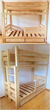 Admirable Diy Creations Made With Old Pallets Admirable Creations Diy Oldpalletsideas Diy Pallet Bed Pallet Diy Pallet Bunk Beds