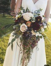 Fallen Brautstrauß, Kaskade Brautstrauß, Burgunder Bouquet, Brautstrauß, Hochzeitsblumen   – Products