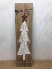 Rustikale Baum Tür Zeichen – Weihnachtsbaum Planke – rustikale Palette Wandkunst – Haustür Schild – Bauernhaus Dekor – rustikale Weihnachten – 42 x 11