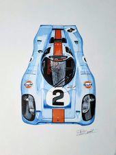 Pin By Tim Zwaan On Car Art Porsche Porsche 917 Gulf Racing