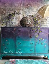 Photo of Hand Painted Buffet Sideboard – Boho Style – Flowers – Purple Green – Entryway B…