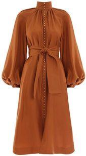 2157f53812b14385e08dc1dac55def39 - Orange party dress high neck evening dress long sleeve prom dress puff sleeve formal dress