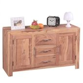 Sideboard chest of drawers with 3 drawers & 2 doors, solid wood acacia, 118cm – …