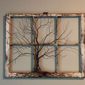Tree of Life Sculpture in Vintage, Antique Window, Rustic, Boho, Celtic, Traditional Style