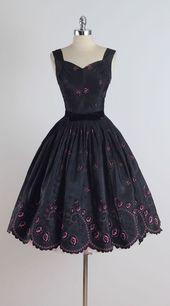 1950 Öse Flocked Kleid Mehr