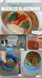 DIY Marbled Glassware Using Nail Polish