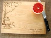 Custom Cutting Board with Tree and Birds Couple's Anniversary Gift Wedding Present Bridal Shower Gif