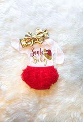 Santa Baby Girl Weihnachten Outfit Babys erste Weihnachten Gold und Red Glitter Neugeborenen Baby Shower Geschenk Weihnachten Bodysuit   – Baby Girl