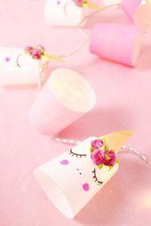 Des guirlandes de licorne DIY faites à partir de tasses? – Faites vous-même une décoration créative – Madmoisell DIY Blog ü   – DIY Einhorn Geschenke und Bastelideen