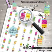 Smoothie Stickers, Printable Planner Stickers, Juice Stickers, Kawaii Sticker, Planner Accessories, Fruit Stickers, Healthy