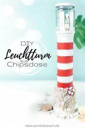 Leuchtturm aus Chipsdose basteln – maritime Bastelidee