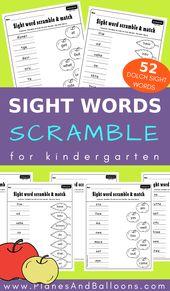 Kindergarten sight word scramble game FREE printable activities