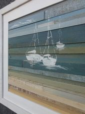 Coastal Reclaimed Wood Art- Sails I (16″ X 16″)