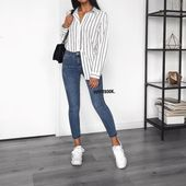 Jeans and striped shirt: casual outfit  Chemise re… – #Casual #chemise #Jeans #Outfit #Shirt