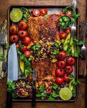 Monday Vibes = Blackened Salmon mit gegrillter Corn Black Bean Salsa. Sommerglück – #Bean #b…