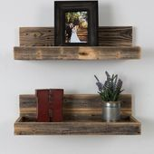 Details about Reclaimed Barn Wood Floating Shelves ~ Set of 2 ~ Rustic Farmhouse Wall Display
