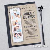 Hochzeitseinladung mit Foto Boho – ab 1,00 € ❤ KOSTENLOSER Versand   – INVITACIONES