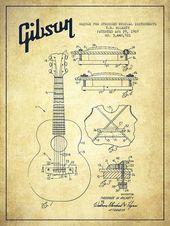 Mccarty Gibson Stringed Instrument Patentzeichnung von 1969 – Vintage Poster von Aged Pixel