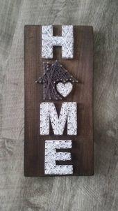 Kleine Home String Art, Zuhause ist, wo das Herz ist, Wohnkultur, Home Sign, Custom Decor   – basteln