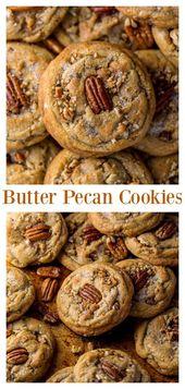 Brown Butter Pecan Cookies sind dick, zäh und knusprig! Mit brauner Butter gemacht …   – Süßkram
