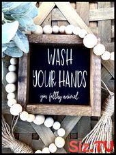 Photo of Farm bathroom decorations Funny bathroom sign Wash your hands Dirty animals Small farm Sign …