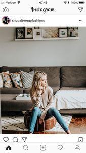 Styling of shelf above couch and pillows on couch …