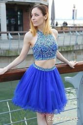 Two Piece Beading Royal Blue Tulle Homecoming Dress from Sugerdress