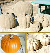 Beach House Fall with Sand Pumpkins   – Decor