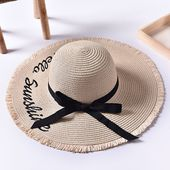 Women Summer Foldable Wide Brim Panama Straw Hat Embroidery Letter Travel Sunsha… – Products