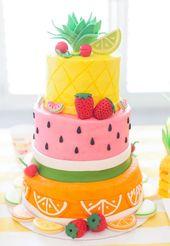 Kinderpasteten, bunte Hawaii-Torte mit Erdbeeren, Orangen und Zitronen   – Hochzeitsgeschenke