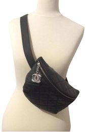 Chanel Bum Quilted Fanny Pack Waist Belt Black Lambskin Caviar Leather Cross Body Bag