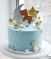Great idea for a baby shower cake with teddy bear sleeping on the moon, …