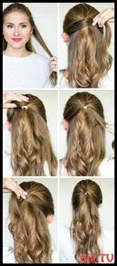 Quick Easy Hairstyle Tutorials Braided Messy Bun Twisted Half Up Fancy Pony Quic...,  #Braide...