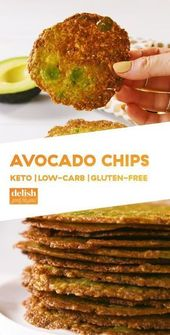 Delicious keto snack recipes, keto avocado chips, low carbohydrate taco cups and more. #keto